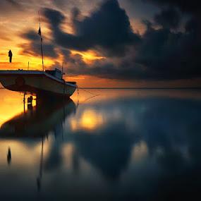 Dark Night by Hendri Suhandi - Landscapes Sunsets & Sunrises ( bali, sunset, ship, long exposure, sunrise, boat, landscape )