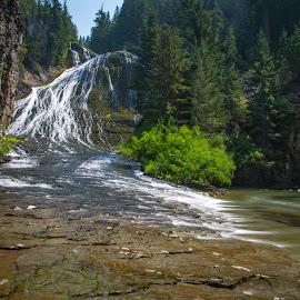 Walupt Falls by Mats Nordgren - Landscapes Waterscapes ( water, stream, creek, waterfall, rock )