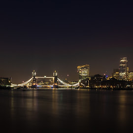 by Brian Knott - City,  Street & Park  Skylines ( skyline, gherkin, london, tower bridge, buildings, night, river thames, city )
