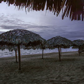 Very Early Beach Scene by Robert Coffey - Landscapes Beaches ( sand, ocean, thatch, beach, clouds, shelters )