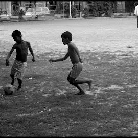 Hidden Messi by Samik Banerjee - City,  Street & Park  City Parks ( playing, park, football, black and white, kolkata, boys )