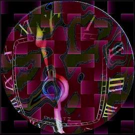 Time Warp by Nancy Bowen - Digital Art Things ( checkerboard, face, warped, clock, background )