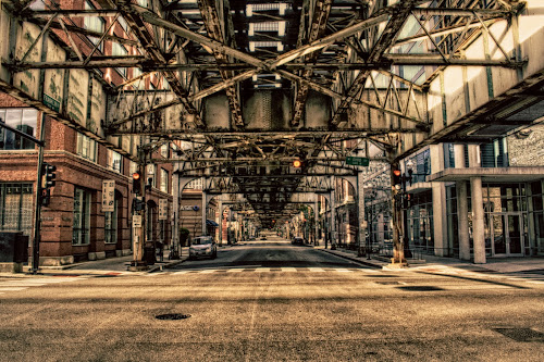 The L Structure by Dennis Granzow - City,  Street & Park  Street Scenes ( illinois, street scene, chicago, architecture, ltrain track )