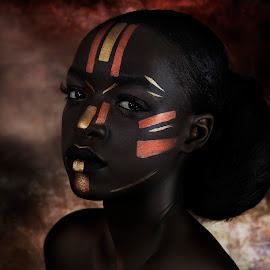 African Princess by Nigel Hawkins - People Portraits of Women ( face, model, african, woman, makeup, dark, tribal, portrait )