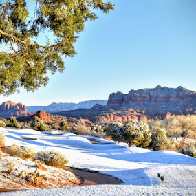 Snowfall in Sedona  by Michael Pruitt - Landscapes Mountains & Hills ( golf course, winter, arizona, snow, sedona golf resort, sedona )