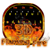 3D Red Flaming Fire Keyboard