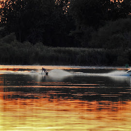 Sunset Skiing by Kathy Woods Booth - Sports & Fitness Other Sports ( water, bronze, skiing, reflection, waterscape, sunset, twilight, reflections, dusk, water splash )