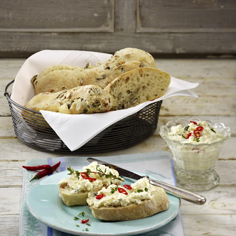 Pumpkin and Sunflower Seed Ciabatta with Spiced Feta