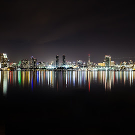 Night Skyline  by Lalahfractioque Sephranowig - City,  Street & Park  Skylines ( water, san diego, skyline, california, night )