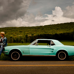 Mustang by Jacob Taylor - People Portraits of Men ( mustang, blue, art, fine art, guitar, road, beauty, hat )