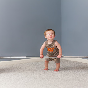 by Mike DeMicco - Babies & Children Babies ( silly, dumbell, weights, funny, baby, cute, muscle man, working out )