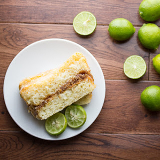 Glazed Key Lime Cake with a Graham Crumb Swirl