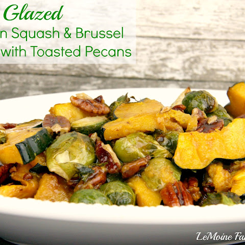 Maple Glazed Acorn Squash & Brussel Sprouts with Toasted Pecans