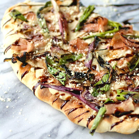 Grilled Flatbreads with Red Spring Onions, Prosciutto & White Bean Sauce