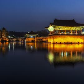 gyeongju ahnapji reflections by Aaron Choi - Buildings & Architecture Public & Historical ( night light, famous, pagoda, cultural, reflections, beauty, architecture, travel, landscape, historic, asian, ahnapji, nature, iconic, paalce, vast, historic site, asia, shilla, pond, north gyeongsang province, gyeongsang province, korea, donggung palace, water, gyeongju, wolji pond, peaceful, pavilion, tourism, architectural detail, scenic, donggung palace and wolji pond, seorabeol, destination, gyeongsangbukdo, korean, landmark, gyeongsang, winter, night, silla, view, wall )