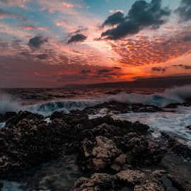 rocks and waves by Enver Karanfil - Landscapes Sunsets & Sunrises ( waves, sunrise, rocks, sunset, clouds, sun, sea )