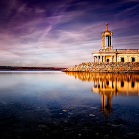 Normanton Church on Rutland Water by Pete Barnes - Landscapes Waterscapes ( water, reflection, italian, ornate, purple, church, rutland water, art, normanton, lake, landscape, sun, photography, normanton church, winter, sky, photographer, landscape photography, scene, roman, rutland, golden )