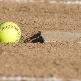 Softball by Rick Touhey - Sports & Fitness Baseball ( infield, pitching rubber, fast pitch, softball, yellow )