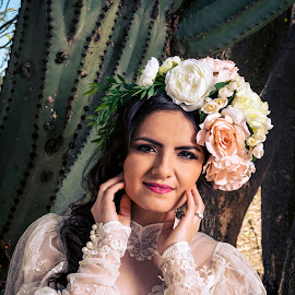 Bride by Bernardo Garcia - Wedding Bride ( makeup, mexican, latina, beautiful, bride, sun, floral, cactus,  )