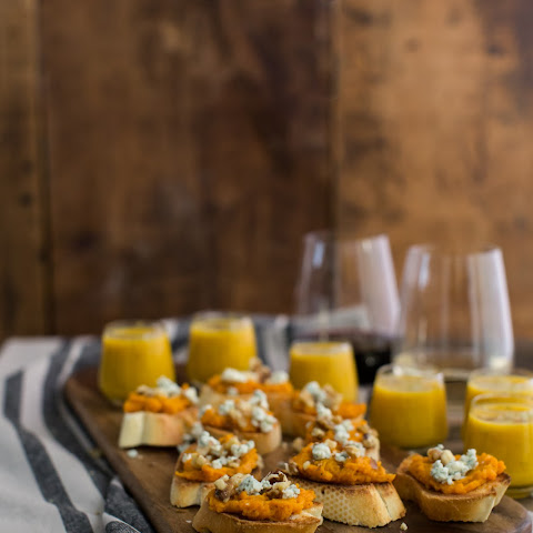 Sweet Potato Crostini with Walnuts and Danish Blue Cheese