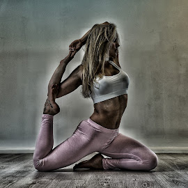 Pink Pants by Ben Rohleder - Sports & Fitness Fitness ( balance, blonde, girl, relax, fitness, mindful, healthy, wellbeing, relaxation, relaxing, stretching, yoga )