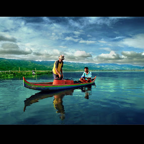 Fishermen and Friend by Irwan Karim - People Street & Candids ( water, lake, people, reflection, reflections, mirror, , color, colors, landscape, portrait, object, filter forge )