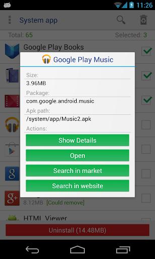 System app uninstaller screenshot 2