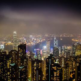View from the top by Sumesh Makhija - City,  Street & Park  Skylines ( lights, hong kong, skyline, victoria peak, kowloon, buildings, night, city )
