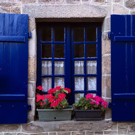 Window by Dobrin Anca - Buildings & Architecture Architectural Detail ( sky, window, blue, street, brittany )