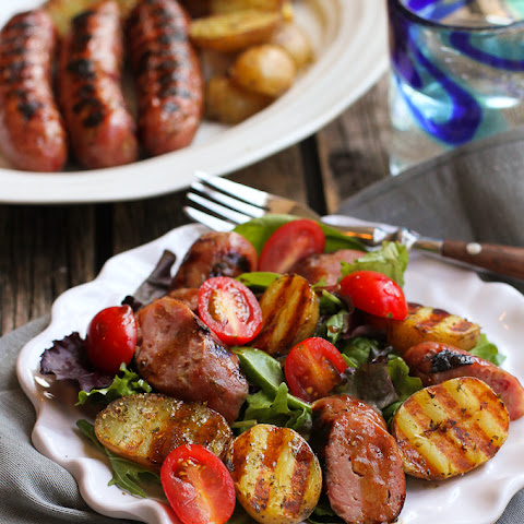 Grilled Sausage, Potato & Mixed Green Salad