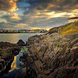 Home on the coast by Ivan Ivanov - Buildings & Architecture Homes ( home, sunset, sea, nikon, coastal, rocks )