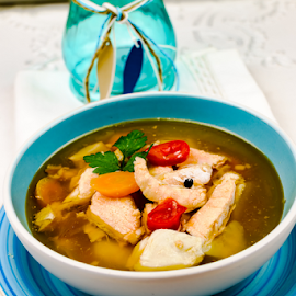 Fish soup by Yancho Zapryanov - Food & Drink Plated Food ( dish, recipe, diet, fish, boiled, pepper, appetizer, taste, fresh, lunch, onion, gourmet, dishware, meal, stew, bowl, spicy, plate, traditional, delicious, soup, health, dinner, arrangement, nutrition, cod, seafood, food, salmon, hot, potato, vegetable, prepared )