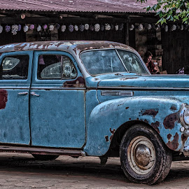 Old Car by Gert Rosslee - Transportation Automobiles ( car, old, rubber, auto, faded, rust )