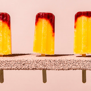 Raspberry-Peach Bellini Ice Pops