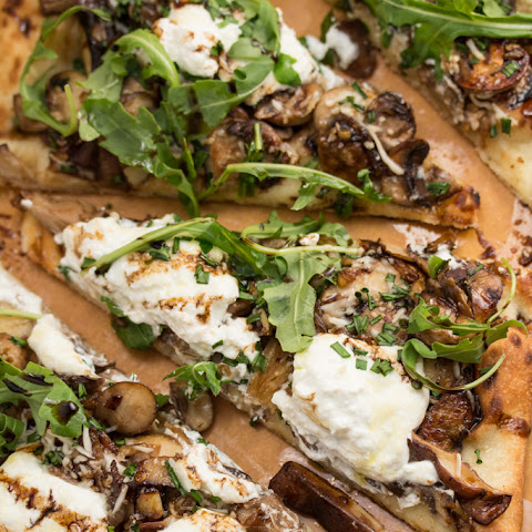 Garlicky Mushroom Ricotta Pizza with Wild Arugula + Aged Balsamic