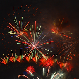 In Full Colour by Kamila Romanowska - Abstract Fire & Fireworks ( nye 2915, australia, fireworks, nye, celebration, new yearm2015, sydney )