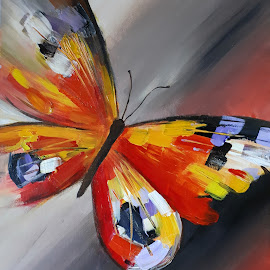 happy butterfly by Hristo Hristov - Painting All Painting ( fly, multicolored, butterfly, happy, naturel )