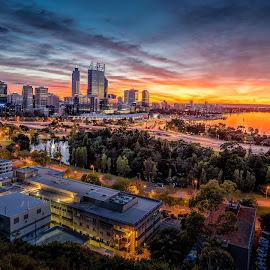 Perth City Sunrise by Michael Wiejowski - City,  Street & Park  Skylines ( perth, sunset, australia, westernaustralia, cityscape, sunrise, landscape, city,  )