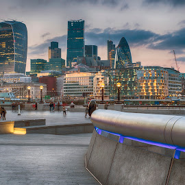 The City of London by Chris Cooper-Mitchell - City,  Street & Park  Skylines ( city of london, gherkin, the scoop, london, tower 42, sunset, cityscape, nikon, walkie talkie, city, city at night, street at night, park at night, nightlife, night life, nighttime in the city )