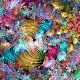Spiral Convergence by Peggi Wolfe - Illustration Abstract & Patterns ( abstract, wolfepaw, gift, unique, bright, illustration, spiral, fun, digital, print, décor, pattern, color, unusual, convergence, julian, fractal, rainbow )
