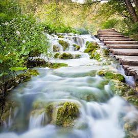 Waterfall by Marcin Frąckiewicz - Landscapes Waterscapes ( waterfall, croatia )