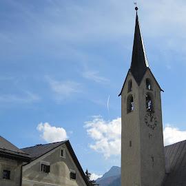 Unterengandin, Guarda, Graubünden, Switzerland by Serguei Ouklonski - City,  Street & Park  Historic Districts ( sky, mountain, bell tower, outdoors, cloud - sky, nature, church, landscape, architecture )