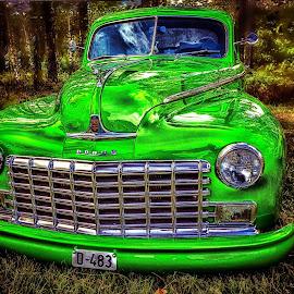 Green Bullet 2 by Roar & Monika Sæthre - Transportation Automobiles ( dølemo 2016, filtered, colorful, wide angle, green, amcar, dodge, olympus )