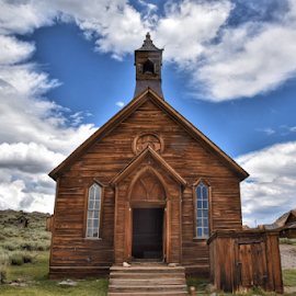 Church of the past by Shirley Prothero - Buildings & Architecture Places of Worship ( sky, church, clouds, western, bodie, landscape )
