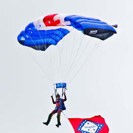 Skydiving Arkansas by Brenda Hooper - Sports & Fitness Other Sports ( flag, blue, skydiver, people, man,  )