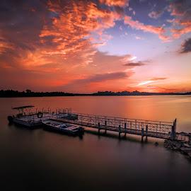 Epic Sunset @ USR by Gordon Koh - Buildings & Architecture Bridges & Suspended Structures ( clouds, park, sunset, asia, long exposure, lake, jetty, upper seletar reservoir, travel, boat, singapore )