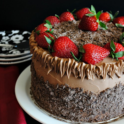 Chocolate Cake with Chocolate Swiss Meringue Buttercream and Strawberries