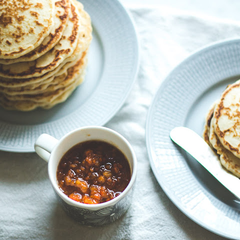 Rice Flour Pancakes with Cloudberry Compote