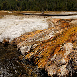 The Grand Prismatic Spring in Yellowstone National Park #8 by Kevin Whitaker - Landscapes Mountains & Hills ( sky, formation idyllic landscape mountain, mountain peak, tranquil scene, winter, yellowstone national park, mountain range, travel photography, environment, geysers, cold temperature, outdoors, travel locations, snow snowcapped mountain, tranquility, nature no people, scenics - nature, beauty in nature cloud, day, non-urban scene, national parks )