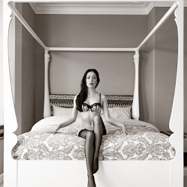 Four Poser by Ian Cartwright - Nudes & Boudoir Boudoir ( erotic, chair, nude, lingerie, buxton, photographer ian cartwright caramel photography, woman, bed, boudoir, naked, bedroom )